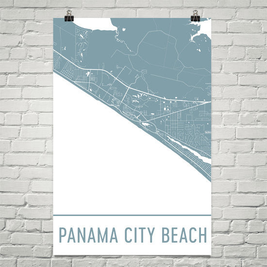 Panama City Beach Street Map Poster White