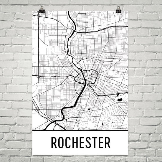 Rochester NY Street Map Poster White