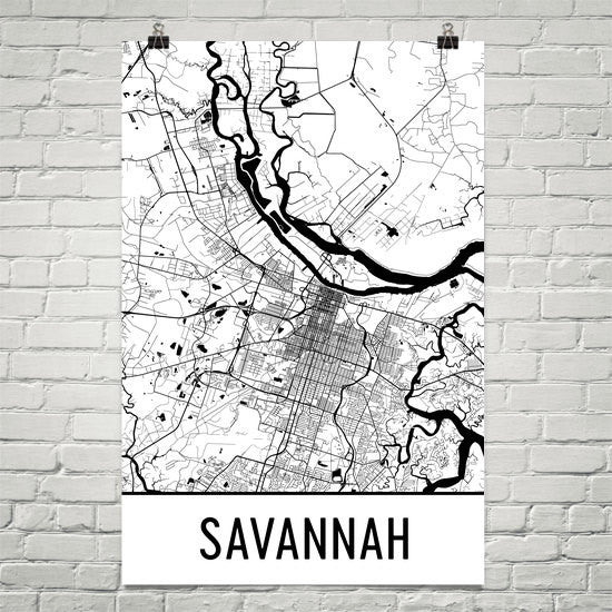 Savannah GA Street Map Poster White