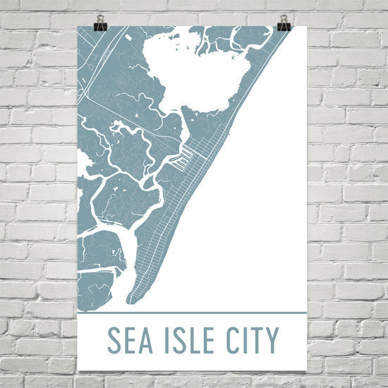 Sea Isle City NJ Street Map Poster White