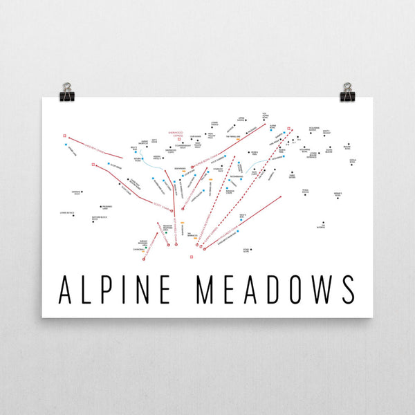 Alpine Meadows Ski Trail Map Poster 12x18