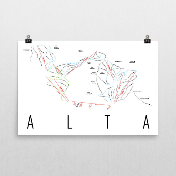 Alta Ski Trail Map Poster 12x18