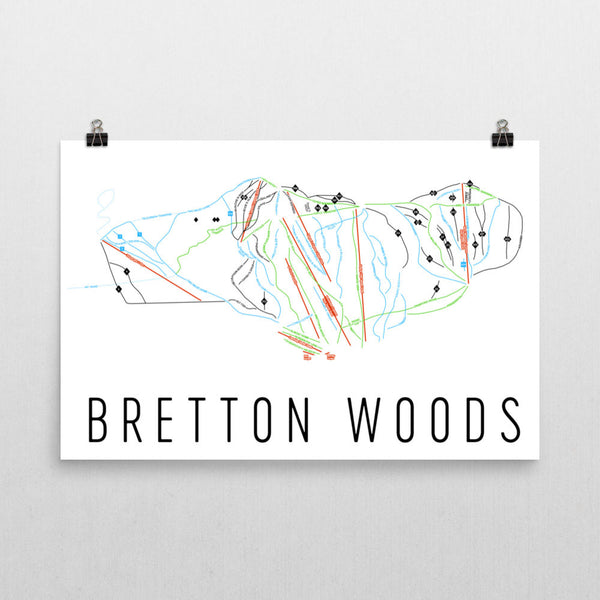 Bretton Ski Trail Map Poster 12x18