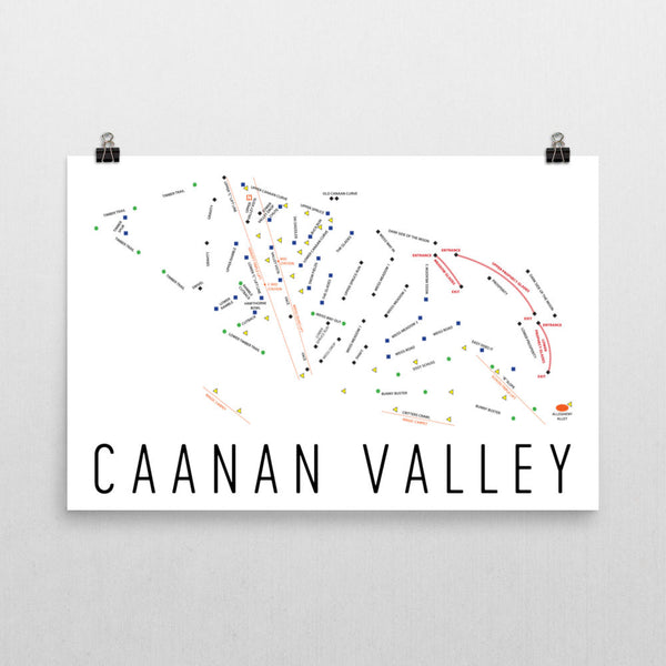 Caanan Valley Ski Trail Map Poster 12x18