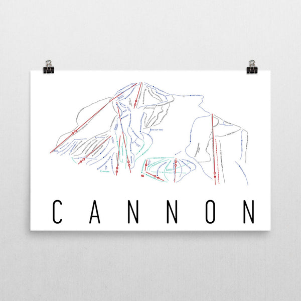 Cannon Ski Trail Map Poster 12x18