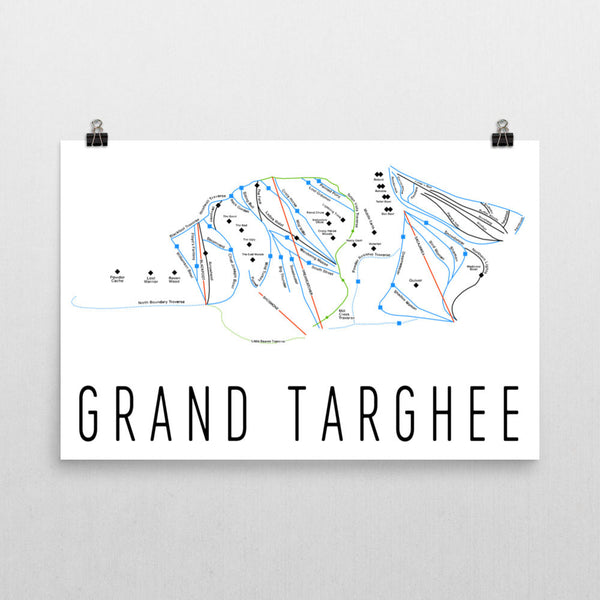 Grand Targhee Ski Trail Map Poster 12x18