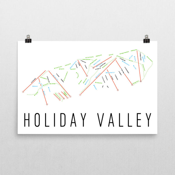 Holiday Valley Ski Trail Map Poster 12x18