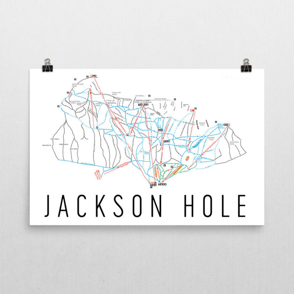 Jackson Hole Ski Trail Map Poster 12x18