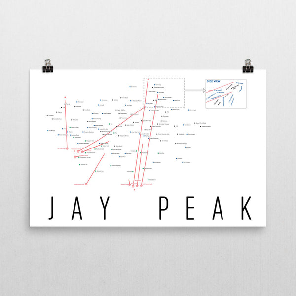 Jay Peak Ski Trail Map Poster 12x18