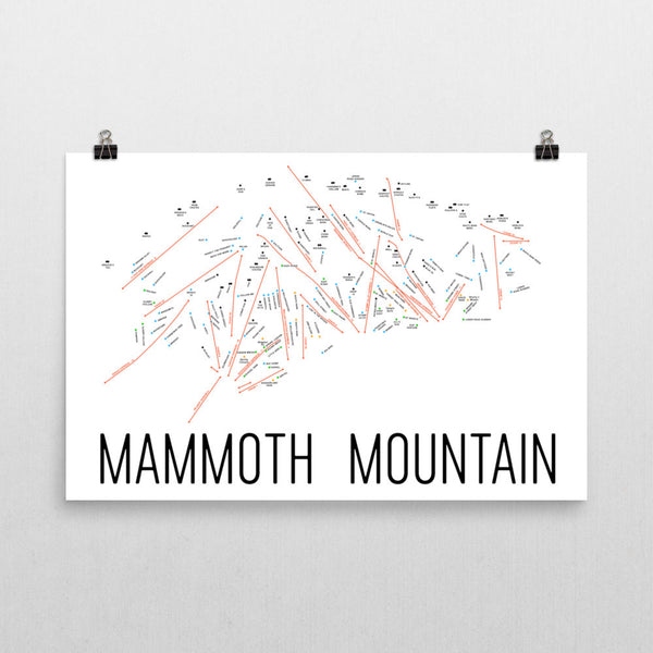 Mammoth Mountain Ski Trail Map Poster 12x18