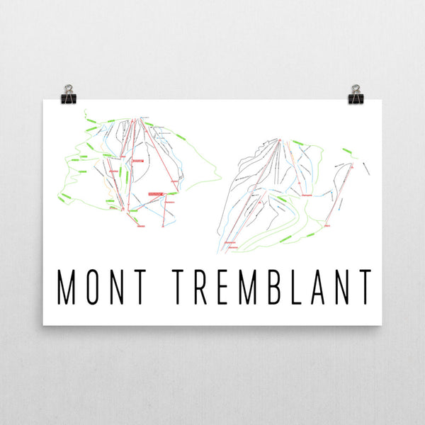 Mont Tremblant Ski Trail Map Poster 12x18