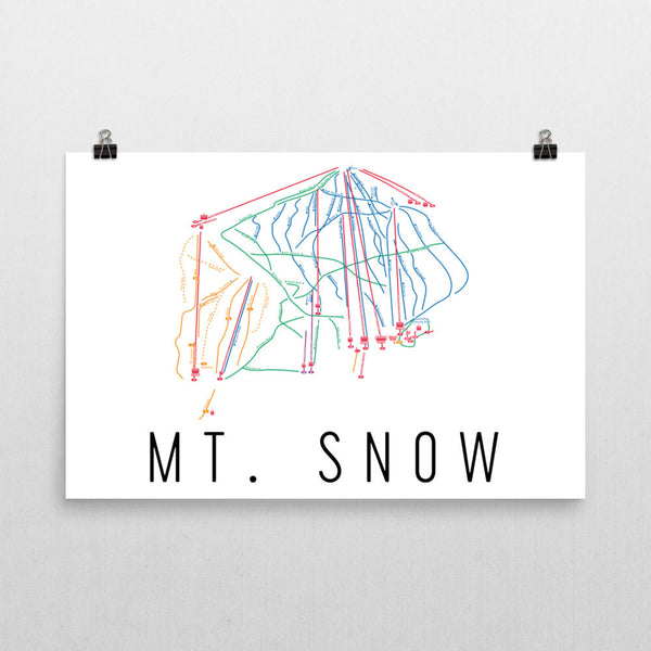 Mt. Snow Ski Trail Map Poster 12x18