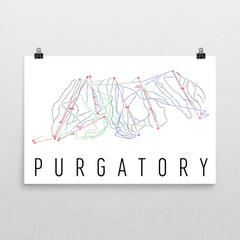 Purgatory Ski Trail Map Poster 12x18