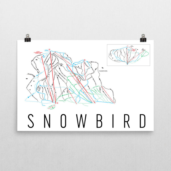 Snowbird Ski Trail Map Poster 12x18