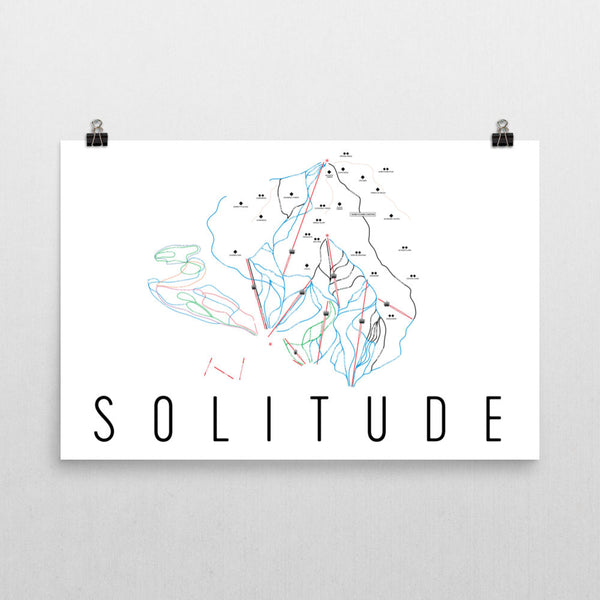 Solitude Ski Trail Map Poster 12x18