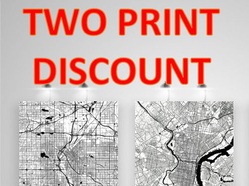 Two Map, Art, Print, Poster, Wall Art From $29.99 - ModernMapArt - Modern Map Art