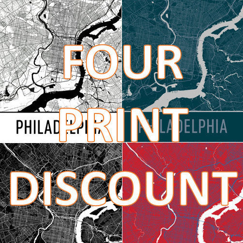 Print Set of 4, Map ,Art ,Prints,  Wall Art  From $29.99 - ModernMapArt - Modern Map Art