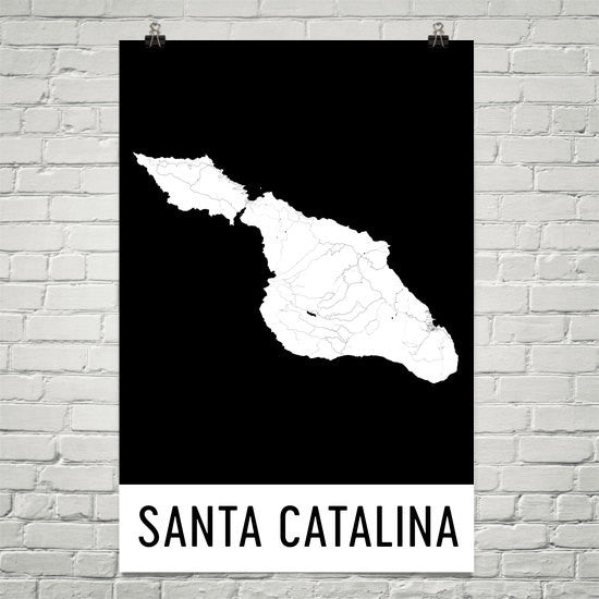 Catalina Island CA Street Map Poster White