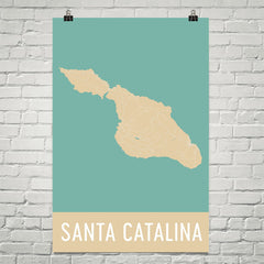 Catalina Island CA Street Map Poster Tan and Blue