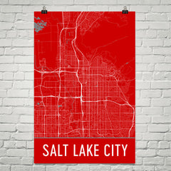 Salt Lake City Street Map Poster Red