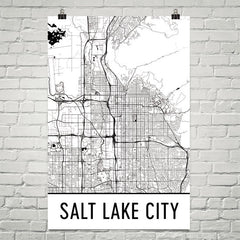 Salt Lake City Street Map Poster White