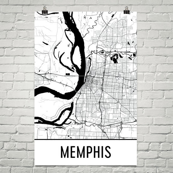 Memphis TN Street Map Poster White