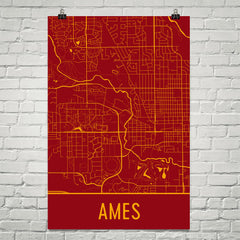 Ames IA Street Map Poster Red