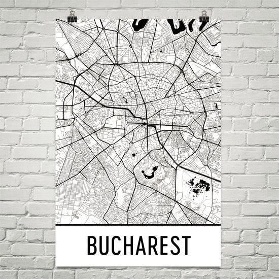 Bucharest Street Map Poster White