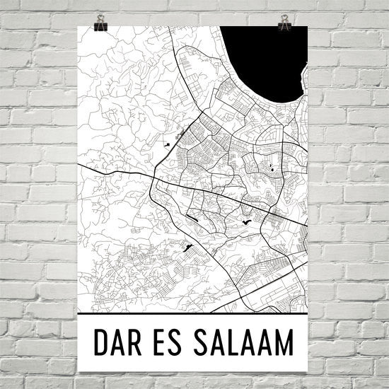 Dar Es Salaam Tanzania Map, Art, Print, Poster, Wall Art From $29.99 - ModernMapArt - Modern Map Art