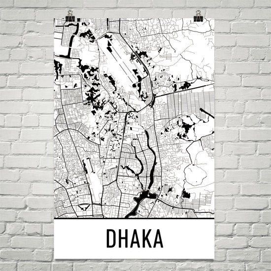 Dhaka Street Map Poster White