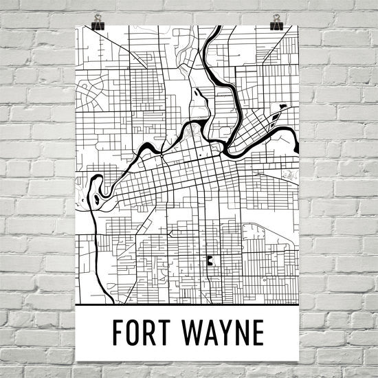 Fort Wayne Indiana Street Map Poster White