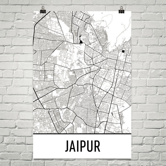 Jaipur India Street Map Poster White