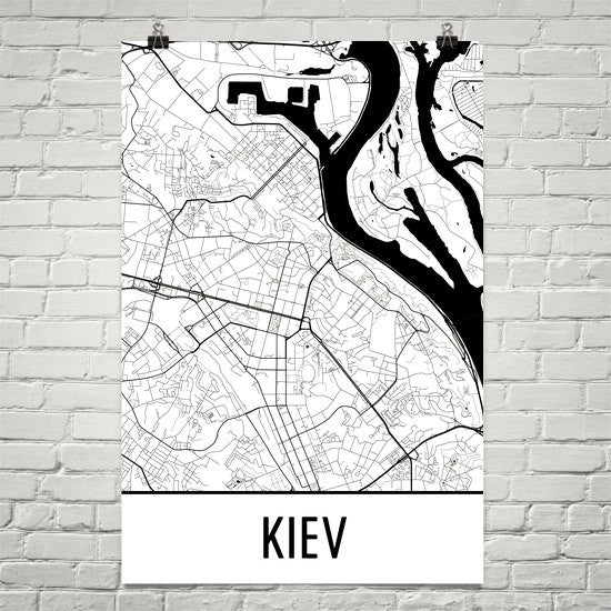 Kiev Ukraine Street Map Poster White