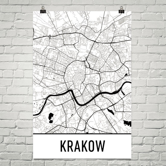 Krakow Poland Street Map Poster White