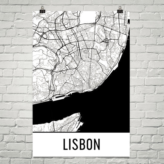 Lisbon Portugal Street Map Poster White