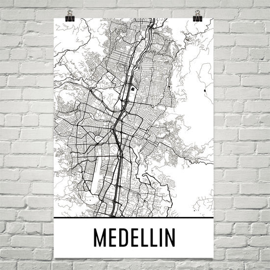 Medellin Colombia Street Map Poster White