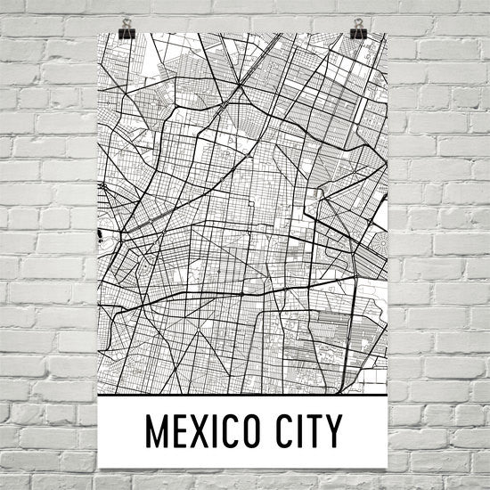 Mexico City Street Map Poster White