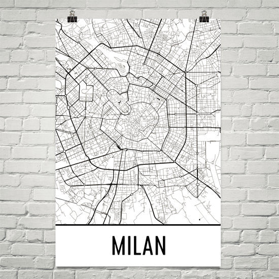 Milan Italy Map,  Art,Print, Poster, Wall Art From $29.99 - ModernMapArt - Modern Map Art