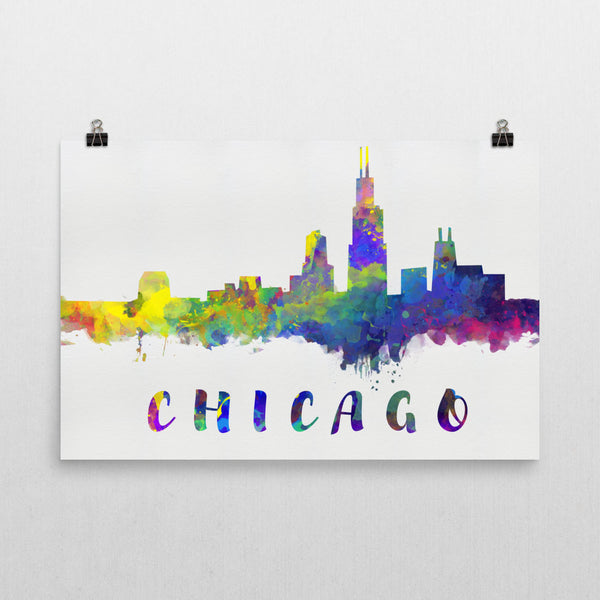 Chicago Skylin, Canvas, Art, Watercolor Skyline From $29.99 - Modern Map Art - Modern Map Art
