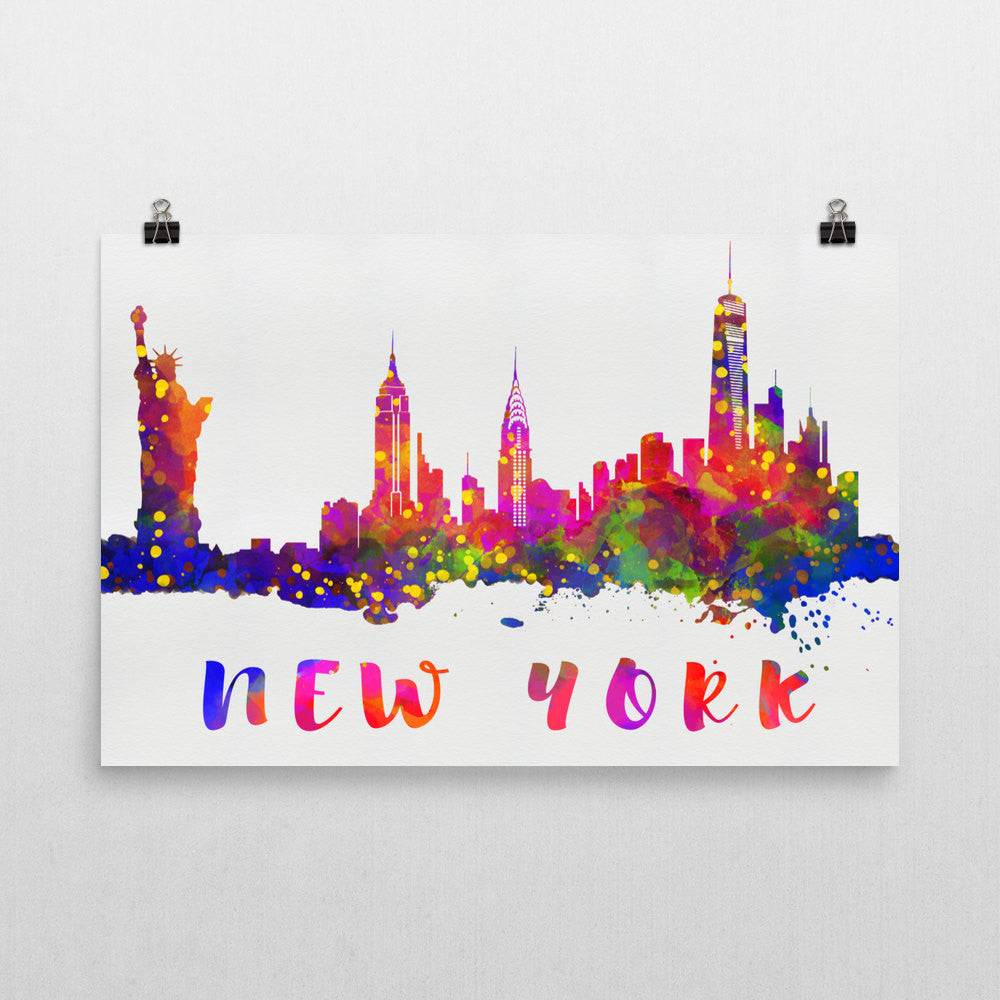 New york skyline print posters and canvases by modern map art new york skyline art print voltagebd Gallery