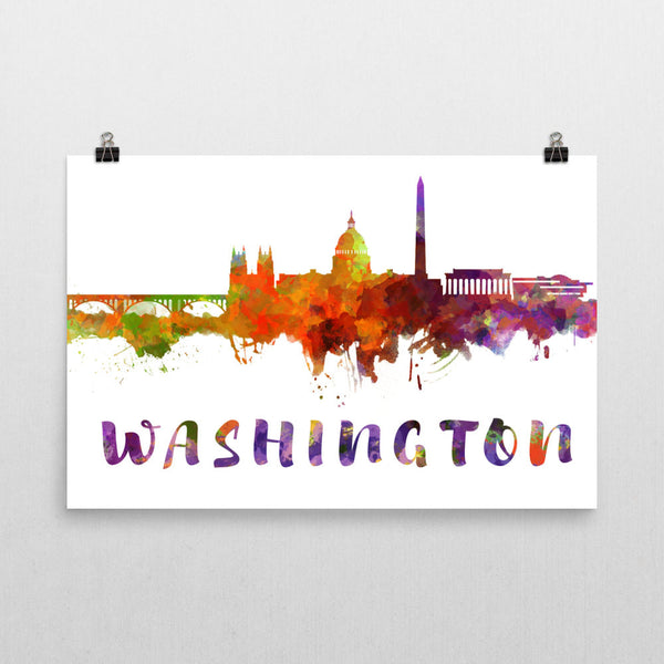 Washington DC Skyline, Canvas, Art, Watercolor Skyline From $29.99 - Modern Map Art - Modern Map Art