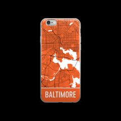 Baltimore Map iPhone 6 or 6s Case by Modern Map Art