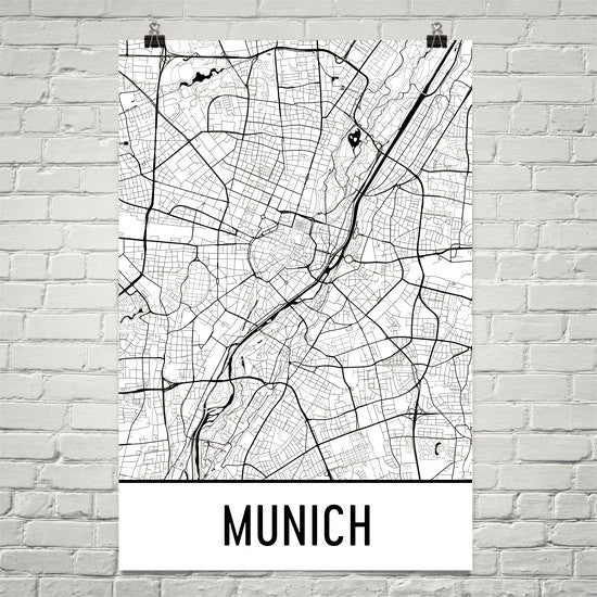 Munich Germany Street Map Poster White