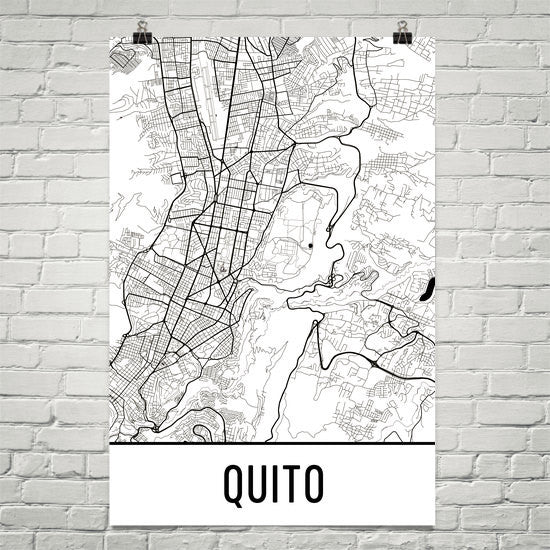 Quito Ecuador Street Map Poster White