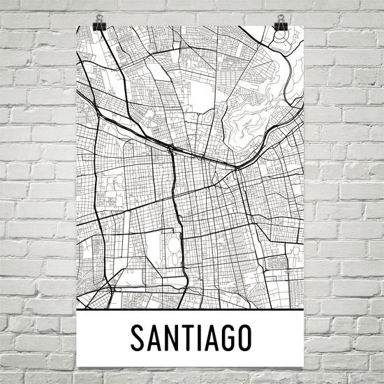Santiago Chile Street Map Poster White