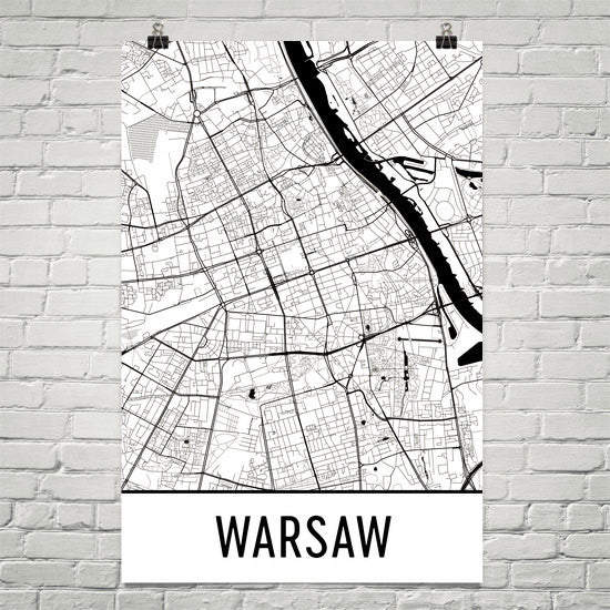 Warsaw Italy Street Map Poster White