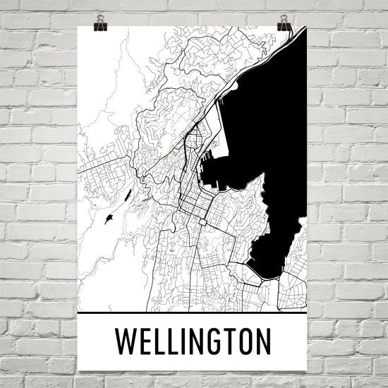 Wellington NZ Street Map Poster White