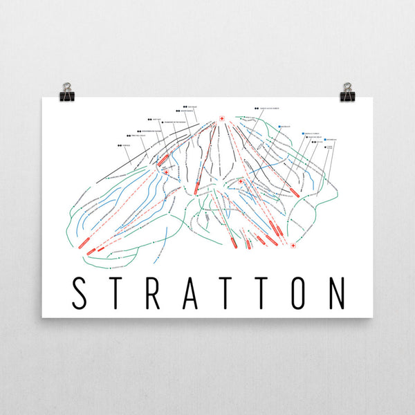 Stratton Ski Trail Map Poster 12x18