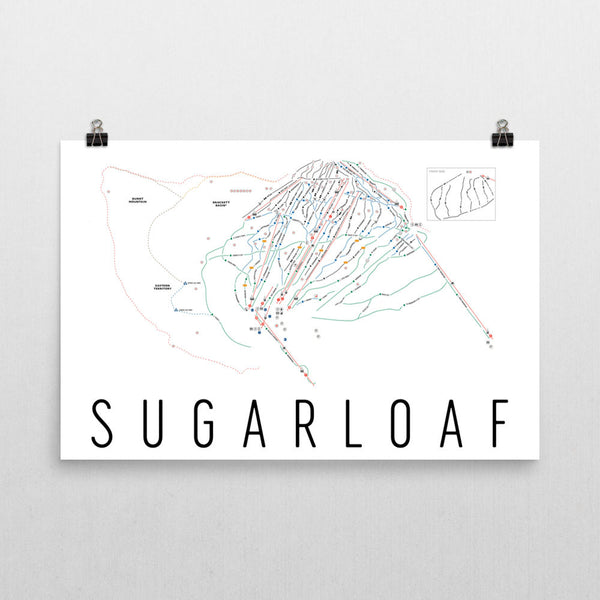 Sugarloaf Ski Trail Map Poster 12x18
