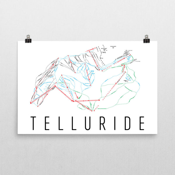 Telluride Ski Trail Map Poster 12x18